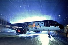 A Brussels Airlines aircraft in Tintin colours
