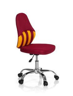 Kinder Bürostuhl / Drehstuhl KIDDY STRIPE Stoff rot/gelb hjh OFFICE