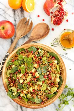 Wheat Berry and Spinach Salad with Orange-Curry Vinaigrette from www.afarmgirlsdabbles.com: