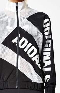 Crafted from breathable mesh, this track jacket has a full front zip, high  neck, and adidas ...