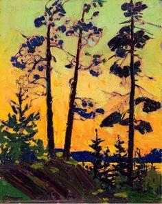 365sunnydays:  pine trees at sunset Tom Thomson