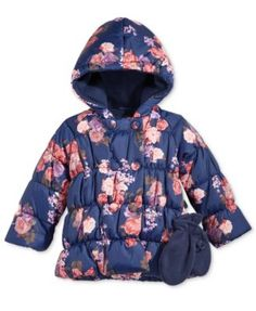 2ded38423056 S. Rothschild Baby Girls  2-Pc. Floral-Print Puffer Jacket   Mittens Set  Kids - Coats   Jackets - Macy s
