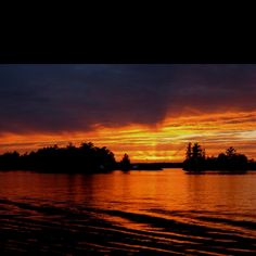 Hopefully we get one of these sunsets :) Calming Photos, Ontario Cottages, Modern Names, Boater, Stony, Trout, Sunsets, Life Is Good, Art Ideas