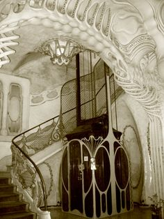 Manuel Sayrach i Carreras (Catalan, 1886-1937) -  Casa Sayrach, Entrance Lobby, Barcelona, circa 1918.  (http://www.hrgiger.com/frame.htm )