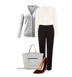 White button-down shirt+black trousers+dark red velvet pumps+grey cardigan+grey tote bag. Spring Workwear/ Business Casual Outfit 2018