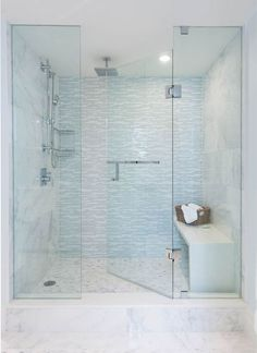 incredible extra large walk in shower features a seamless glass door glass shower tiles glass shower tile accents Bad Inspiration, Bathroom Inspiration, Bathroom Tile Designs, Bathroom Ideas, Bathroom Showers, Bath Shower, Bathroom Marble, Bathroom Remodeling, Shower Floor