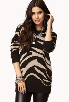 over-sized zebra print sweater // I'd live in this all through fall.