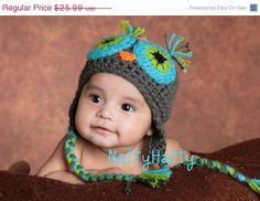 SALE--  crochet owl hat, newborn boy crochet hat, baby halloween costume, baby owl beanie,  newborn photo prop on Etsy, $23.99