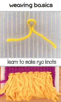 How to Make Rya Knots on a Frame Loom Learn to weave all the basic weaves in this free tutorial series. Weaving Projects, Weaving Art, Loom Weaving, Tapestry Weaving, Hand Weaving, Art Projects, Yarn Crafts, Fabric Crafts, Fibre And Fabric