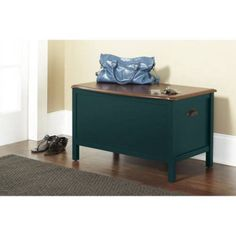 Wood Storage Bench Painted Furniture Living Room Storage Organized Walnut Teal #10SpringStreetHinsdale #Modern