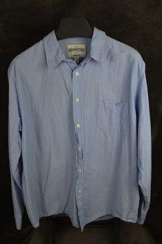 Aeropostale mens Authentic Fit XXL 2XL LS blue striped button shirt FREE SHIP #Aeropostale #ButtonFront