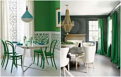House to Home, Kay Douglass Interior Design    Vibrant green is not for the faint of heart. It's a bold colour that can stand up to strong prints and graphic patterns. It works well paired with punchy black and white accents or with its analogous colour on the colour wheel, aqua blue, for a more tropical South Beach vibe.