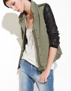 Army jacket with leather sleeves / Zara