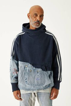 Ivy League Draft - Greg Lauren worked with New York retail label KITH on the new Ivy League Draft collection for the Fall/Winter 2018 season. Denim Fashion, Fashion Outfits, Womens Fashion, Fashion Tips, Fashion Trends, Fashion Design, Fashion Vest, Estilo Jeans, Patchwork Jeans