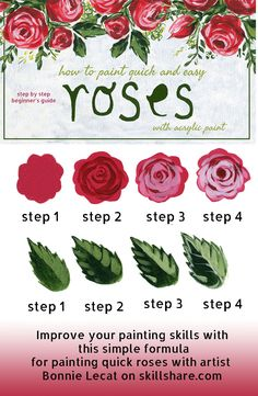 How to Paint Easy Roses with Acrylic Paints via @bmurphylecat