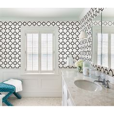 A bold black and white wallpaper that contemporary and fun - Kitchen, Bed, & Bath IV