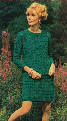 Ladies cardigan skirt suit vintage crochet by EnglishCrochet