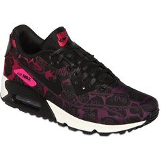 NIKE Air Max 90 Nylon Sneakers - Black/Purple/Fuchsia ($200) ❤ liked on Polyvore