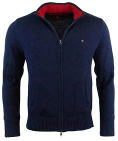 Tommy Hilfiger Mens Full-Zip Mock Neck Cardigan Sweater Now for 84.99. Tommy Hilfiger mens full-zip cardigan sweater. 100% cotton. Imported. Tommy Hilfiger mens full-zip cardigan sweater.. 100% cotton.. Embroidered flag logo on chest.. Ribbed collar, sleeve cuffs, and hem.