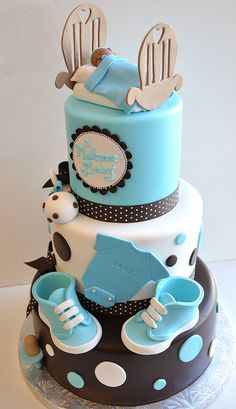 Baby shower cake blue fondant ideas for 2019 Torta Baby Shower, Baby Boy Shower, Baby Cakes, Cupcake Cakes, Beautiful Cakes, Amazing Cakes, Decors Pate A Sucre, Bar A Bonbon, Occasion Cakes