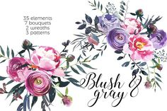 Blush & Gray Watercolor Flowers  by whiteheartdesign on @creativemarket