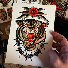 Traditional Tattoo Arm, Traditional Tattoo Inspiration, Traditional Panther Tattoo, Traditional Tattoo Old School, Vintage Tattoo Art, Vintage Tattoo Sleeve, Tiger Tattoo, Doodle Tattoo, Tattoo Ink