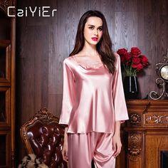 125964ba1c Caiyier 2018 Silk Pajamas For Women Pink Nightwear Spring Solid Sleepwear  Women Satin Pajamas Sets Long