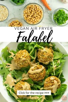 Flavorful air fryer falafel is crunchy on the outside, soft on the inside, and perfect on salads or stuffed into a pita. Drizzle with homemade tahini dressing! Easy Vegan Dinner, Vegan Dinner Recipes, Vegan Dinners, Baked Falafel, Falafel Recipe, Homemade Tahini, Stuffed Grape Leaves, Baked Carrots, Air Fried Food