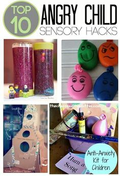 These are the Top 10 Angry Child Sensory Hacks. They are perfect for a calming corner and sensory tools basket to help children cope with anger and frustration Sensory Tools, Sensory Play, Sensory Diet, Sensory Issues, Sensory Room Autism, Diy Sensory Toys, Social Work, Social Skills, Coping Skills