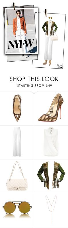 """""""DAY THREE NYFW"""" by meddyanka ❤ liked on Polyvore featuring Christian Louboutin, Thierry Mugler, Miss Selfridge, Chanel, Moschino, Finlay & Co., Lana, women's clothing, women and female"""