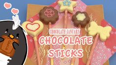 Pengulin loves chocolate!  How to make chocolate lolli-pops using a mold from Daiso, a Japanese dollar store.