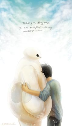 """syphelliumartist: """"""""Thank you, Baymax… I am satisfied with my brother's care…"""" This little doodle has been sitting in my folders for a while, thought maybe I should post it because I've been thinking about big hero 6 again. (and crying because of. Disney Pixar, Film Disney, Disney And Dreamworks, Disney Animation, Disney Art, Disney Characters, Punk Disney, Disney Princesses, Baymax"""