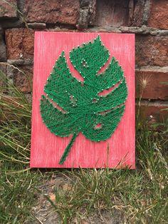 Leaf Sring Art/Palm Leaf String Art/Leaf Wall Art/String Art Board/Nail and String Art/Leaf Nails/Wood Decor/Pink and Green/Plant/Tropical by StringArtSoulShop on Etsy