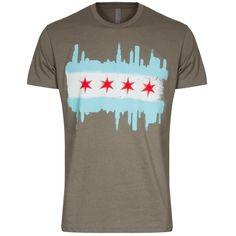 Chicago Mens Grey Chicago Skyline Flag Tee by Clark Street Sports Chicago Shirts, Chicago Skyline, Flag, Sports, Mens Tops, T Shirt, Fashion, Hs Sports, Moda