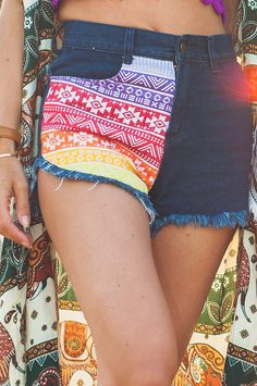 Rainbow Aztec Denim Shorts. Pants from One Tribe Apparel <3 Use coupon code TWM15 for a 15% off.
