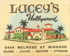 Lucey's Hollywood by jericl cat, via Flickr. 30 stem #matchbook. #FrontStriker. To order your Business' Own Branded #MatchBooks. Go to: www.GetMatches.com or call 800.605.7331 Today!