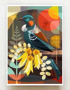 Linocut Prints, Art Prints, New Zealand Art, Nz Art, Wall Art For Sale, Bird Illustration, Bird Art, Art Techniques, Folk Art