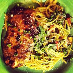 Balsamic Chicken over pasta with tomatoes and spinach