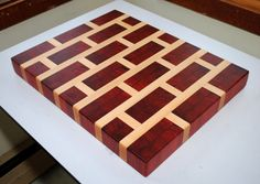 Hey, I found this really awesome Etsy listing at https://www.etsy.com/listing/224491777/brick-pattern-padauk-and-maple-end-grain
