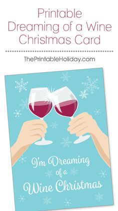 The holidays can be stressful, and sometimes you just need to relax with a nice glass of Pinot Noir and forget about the gift wrapping, holiday hosting, and crazy relatives. Your vino-loving friends and family will get a kick out of this funny wine themed Christmas card! | Printable Dreaming of a Wine Christmas Card from #ThePrintableHoliday