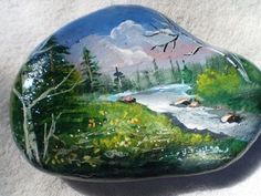River and Mountains Painted Rock Pebble Painting, Tole Painting, Pebble Art, Stone Crafts, Rock Crafts, Bois Intarsia, Painted Rocks Kids, Painted Stones, Posca Art