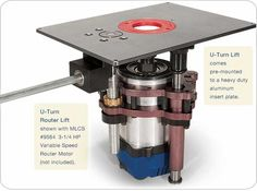 """U-Turn"" Router Lift With a (12‑3/32"" x 9""‑1/32"" x 1/4"") insert plate for MLCS table tops #9563............SALE $299.95   ""U-Turn2"" Router Lift With a (11‑3/4"" x 9""‑1/4"" x 3/8"") insert plate for non-MLCS table tops #9562......SALE $299.95"