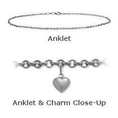 """10K 10"""" White Gold Belcher Style Anklet with 9mm Heart Charm Elite Jewels. $259.50. Save 40%!"""