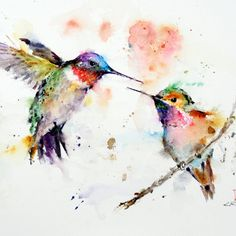 HUMMINGBIRDS Large Watercolor Print by Dean by DeanCrouserArt