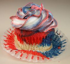 Red, white, and blue cupcakes!!