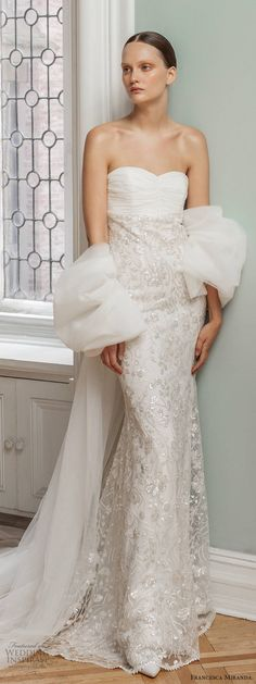 Inspired by the glamour and intrigue of a masked ball, Francesca Miranda's Spring 2020 bridal collection features details that are high on Wedding Attire, Wedding Gowns, Francesca Miranda, Bridal Dresses, Bridesmaid Dresses, Embellished Skirt, Wedding Jumpsuit, Stunning Dresses, Bridal Collection