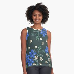 Womens Sleeveless Tops, Pink Blossom, Flower Patterns, Blue Flowers, Chiffon, Tank Tops, Printed, Awesome, Fabric