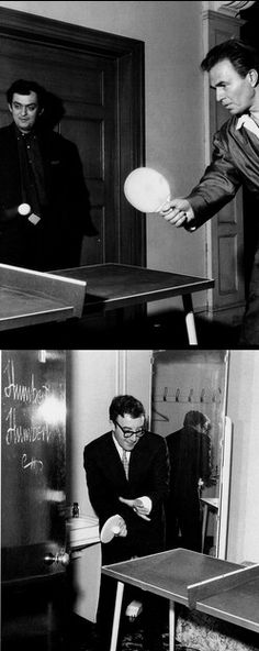 "Ping Pong match, James Mason vs. Peter Sellers, and Stanley Kubrick on the set of ""Lolita"" (1962, dir. Stanley Kubrick)"