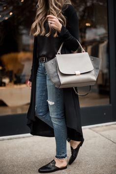 Black drape duster and AGOLDE denim #styleblogger #TTD