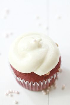 Red Velvet Cupcakes with White Chocolate Chips and Cream Cheese Frosting